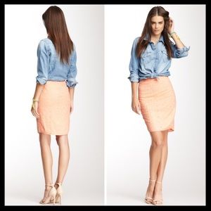 joie // eyelet lace mylo peach pencil skirt